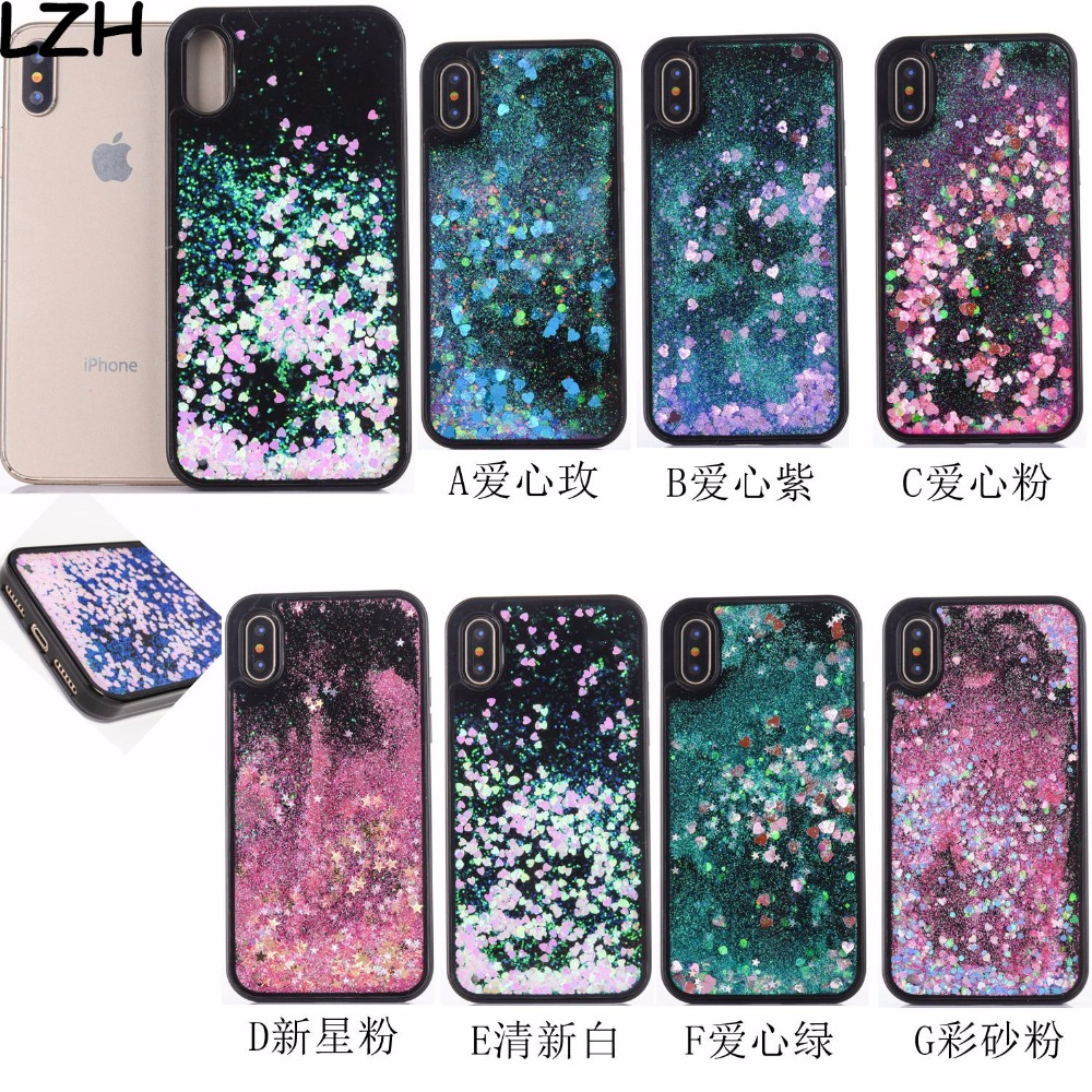 Half-wrapped Case Cellphones & Telecommunications Bright Quicksand Black Phone Case For Apple Iphone X 10 5.8 Inch Fundas Glitter Heart Stars Dynamic Bling Liquid Sand Back Cover Coque Agreeable Sweetness