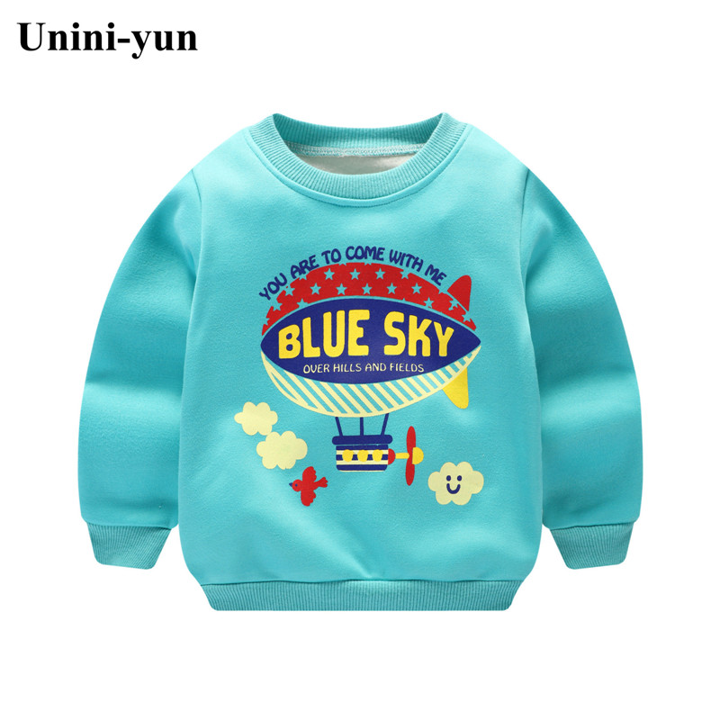 2017 autumn winter children boys sweatshirt New baby boys clothings toddler girls hoodies spring kids T shirt for fleece inside