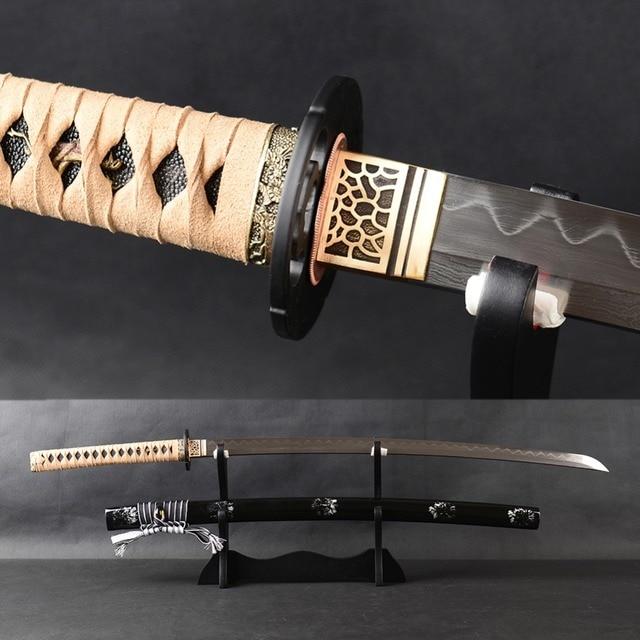 US $220 53 12% OFF Very Sharp Samurai Katana Japanese Sword Handmade Full  Tang Cutting Practice Sword Folded Steel Clay Tempered Blade Espada -in
