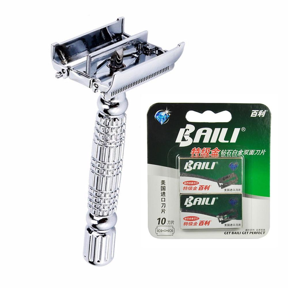 1 Handle+ 11 Blades Double Edge Safety Razor Chrome Alloy Sliver Men Shaving Manual Razor Set