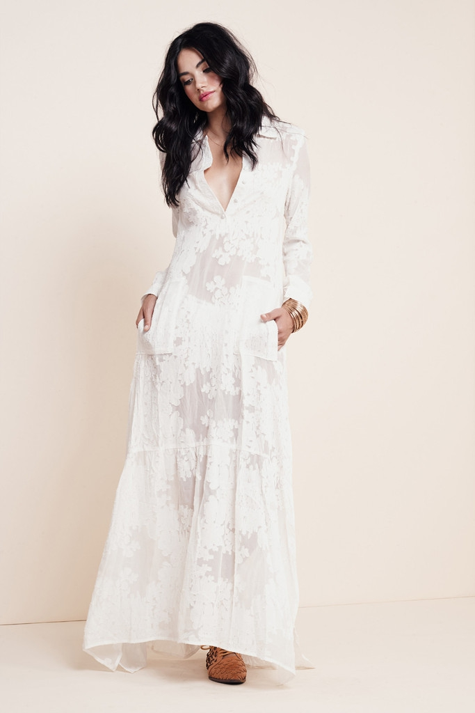 Silk White Maxi Dresses for Weddings