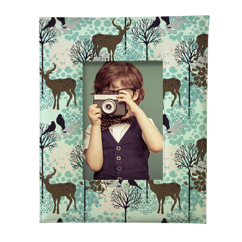 9x13cm deers paradise print custom pu leather baby family photo frame set desktop picture frame marcos