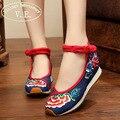 Bordado do vintage Das Mulheres Flats Shoes Primavera Outono Mulher Turismo Chinês Bordado Floral Único Caminhada sapatos de Dança Plana