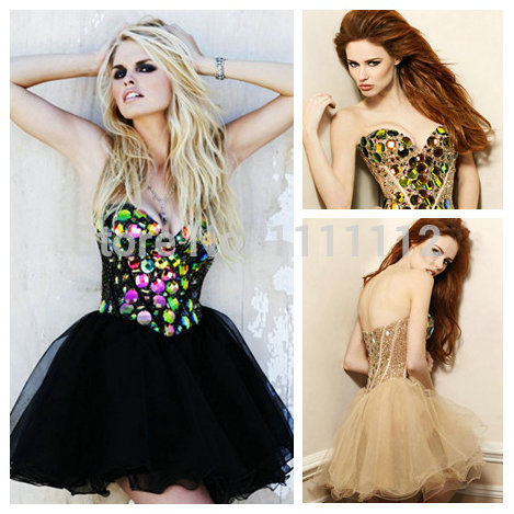 Beautiful Stones Crystals Ball Gown Black Gold Cocktail Prom Dresses ...