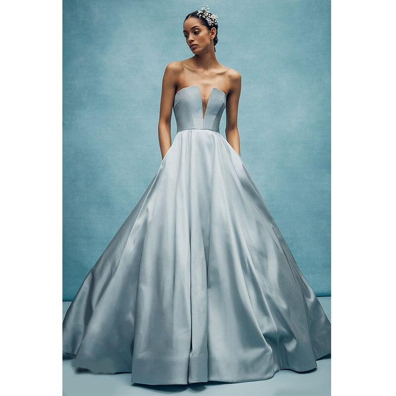 Verngo  2019 Fashion Sky Blue Evening Dress Stain Evening Dresses Long Sleeveless Formal Dress Ball Gown Robe De Soiree