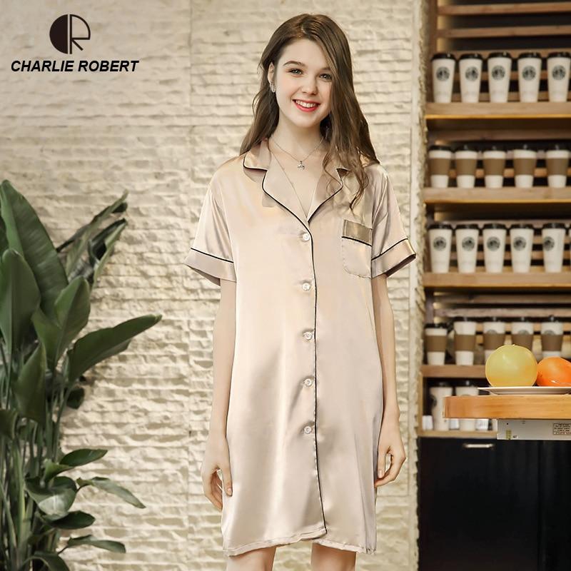 CR Women Long Sleeve Nightdress Silk Sleepdress High Quality Button New Shirt Female Casual Homewear Colorful Sleepwear