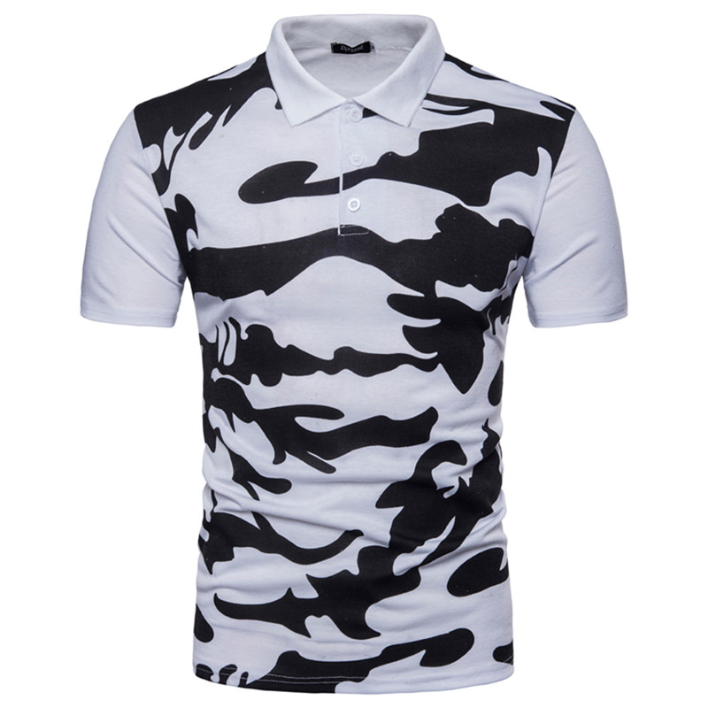 2018 Brand Clothes Mens   Polo   Shirt Cool Camouflage Printing Top Shirt for Male Comfortable Breath Turn-down Collar Men   Polos