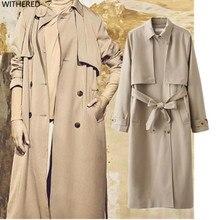 Freeshipping trench font b coat b font casaco feminino 2017 casual double breasted khaki Belt decoration