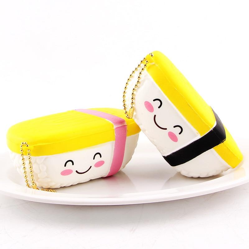 Cute Yuzi sushi Squishy Slow Rising Phone Strap 6CM Cartoon Face Pendant Stretchy Bread Cake Kids Fun Toy Birthday Gift