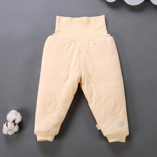 2016 Nova Inverno Quente Calças Compridas de Algodão Do Bebê Da Criança Calças de Cintura Alta Infantil Abdômen calças de proteção Suporte para abrir virilha