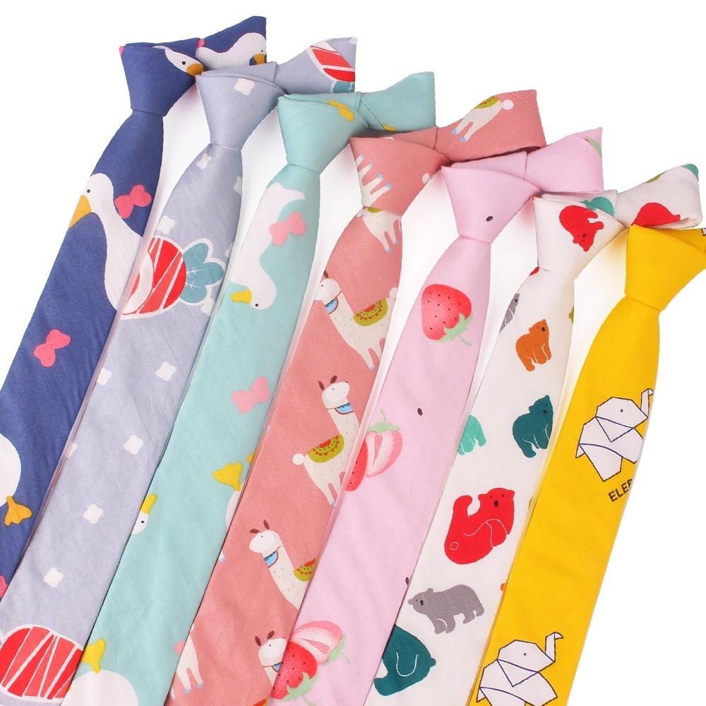 Fashion Animal Print Tie For Men Women Skinny Neck Tie For Wedding Casual Cartoon Neckties Classic Suits Slim Cotton Neck Ties