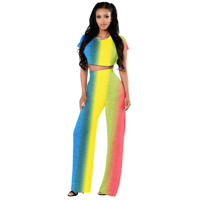 c5186bb6eaf Contrast Color Two Piece Set Women Casual Rainbow Striped Short sleeve Crop  Top + Long wide leg Pants Women Sets Elegant Sexy