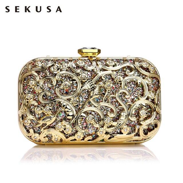 SEKUSA Hollow Outผู้หญิงสไตล์กระเป๋าSequinedงานแต่งงานClutchesขนาดเล็กกระเป๋าสะพายกระเป๋าถือ