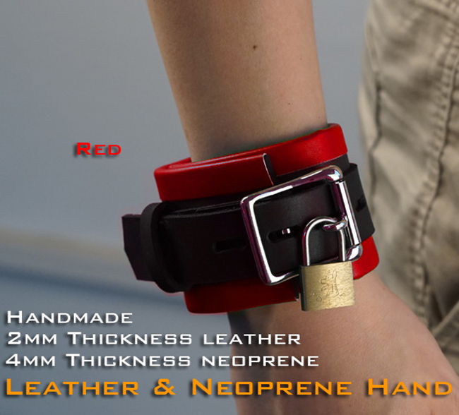(RD1109)Luxury Customize Handmade 2mm Thickness Leather 4mm Thickness Neoprene Handcuffs Red Hand-wear Fetish Wear