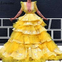 High Fashion Yellow Dubai Celebrity Dresses Long Deep V Neck Tiered Red Carpet Award Ceremony Gowns 2019 Sexy Prom Party Dresses