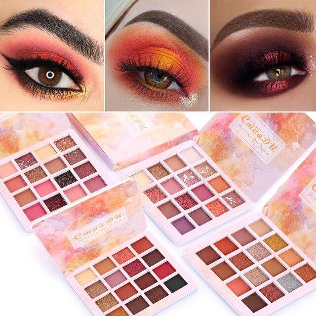 Cmaadu-palette de fards à paupières professionnels 16 couleurs mat et scintillantes, ombre à paupières imperméable, longue durée, palette de maquillage des yeux naturels