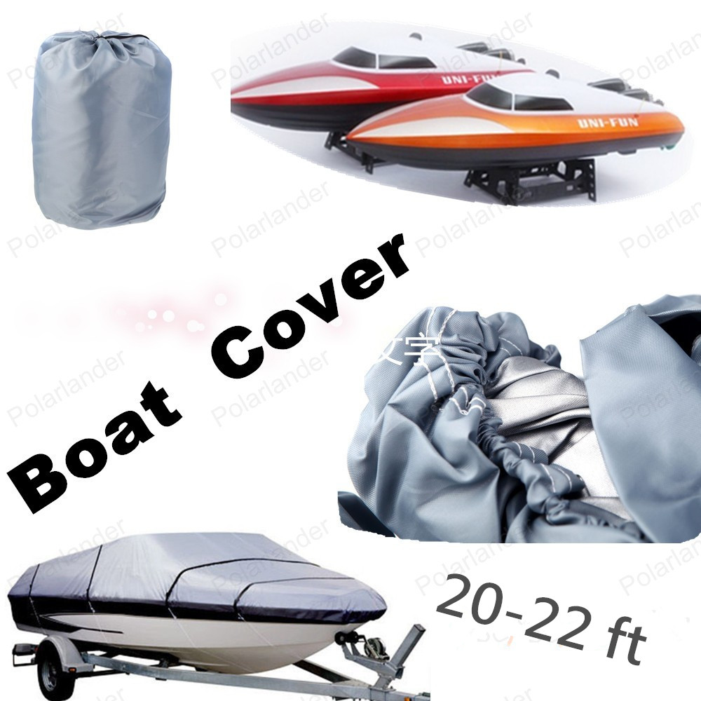 HOT SELL Grey Extra Heavy Duty Boat Speedboat Cover 20 21 22 ft Waterproof Fish - Ski V-Hull 100inch