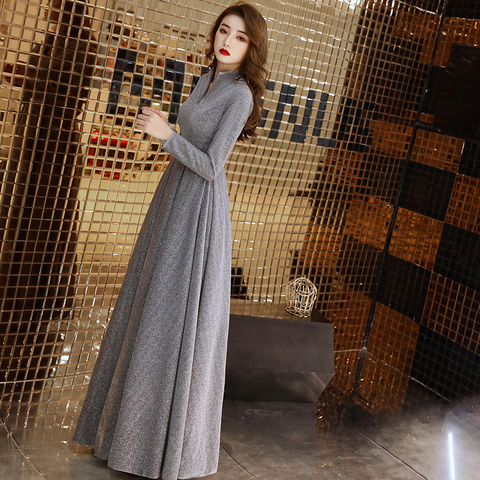 weiyin 2019 Women Long Sleeve Evening Gowns Celebrity Dress Elegant Formal Long Dresses Satin A line Evening Dresses WY1509 Lahore