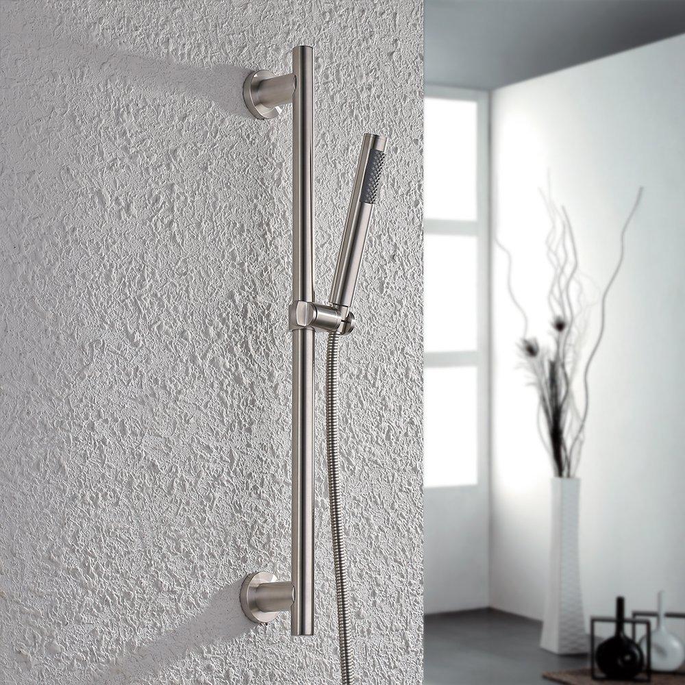 Brushed Bathroom All Stainless Steel Shower Head set with Slide Bar Hand Showerhead Adjustable Sliding Bracket Holder