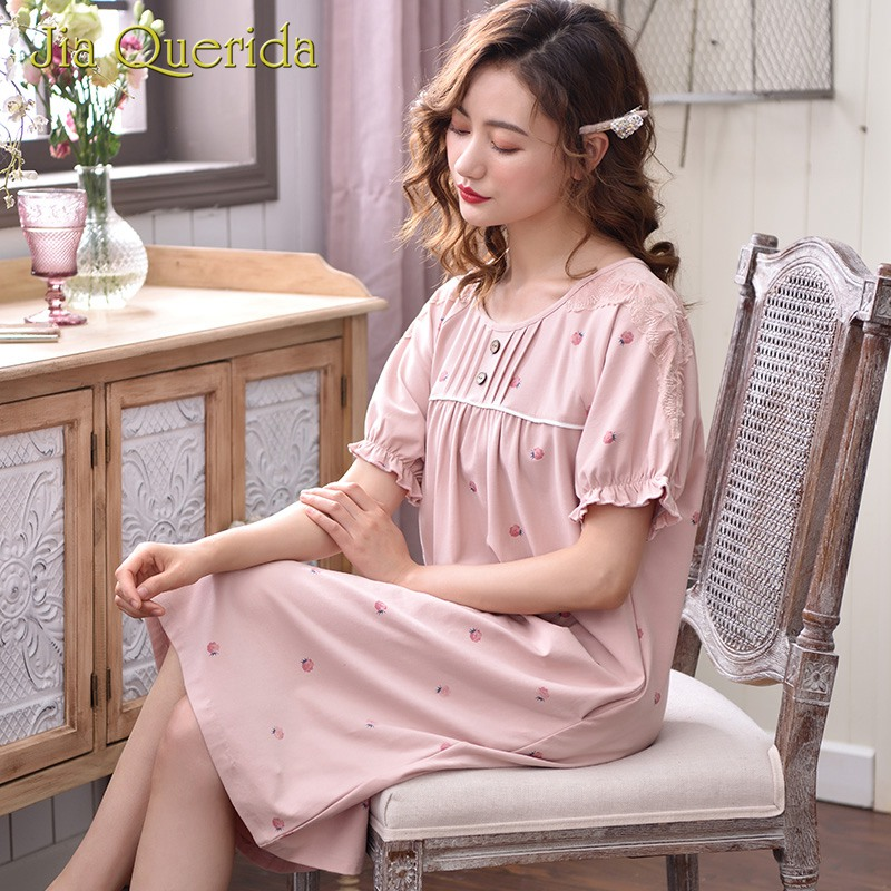Women Plus Size   Nightgown     Sleepshirt   Ladies Lingerie Button Floral Print Sweet Pink Lady Cotton Modal Elastic Summer Knee-Length