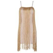 Seamyla New Fashion Evening Party Dress Women Sexy Spaghetti Strap Gold Tassel Clubwear Bodycon Dresses Vetidos Fringe Dress