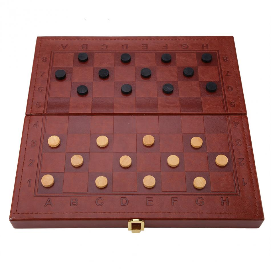 3 in 1 Portable Wooden Chess Checkers and Backgammon Board Game 10