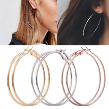 3 Pair New Fashion Lady Women Thin Round Big Large Dangle Hoop Loop Earrings11.9(China)