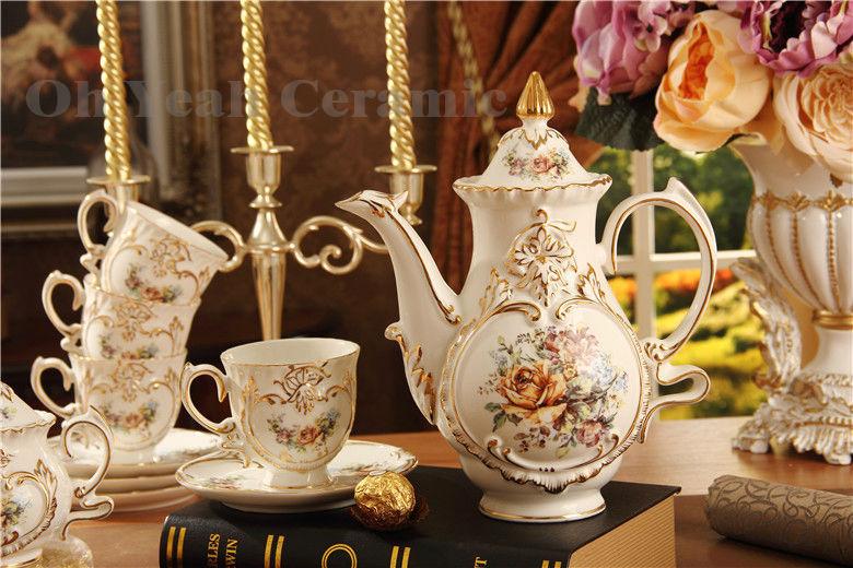 15pcs Coffee Cup Set Coffee Pot Coffee Jug Cup Saucer Set Porcelain