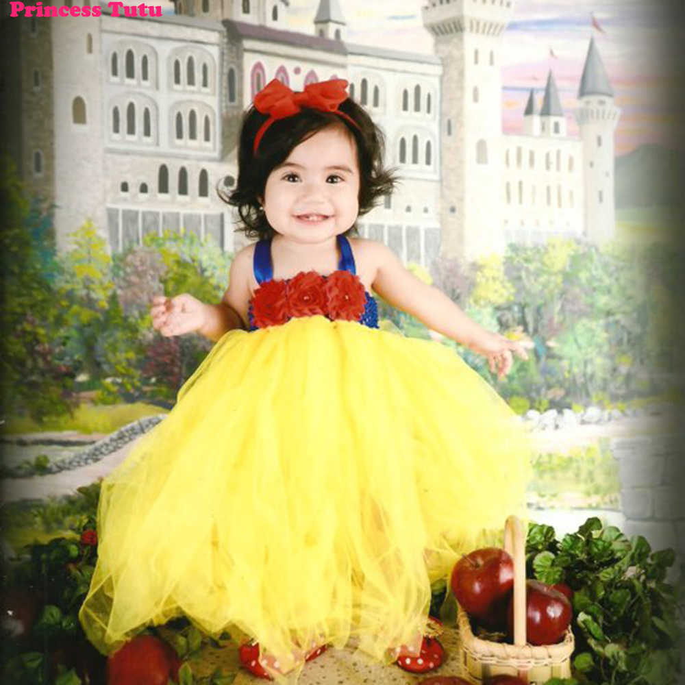483697fcbbe4 Beautiful Snow White Tutu Dress Costume with Red Hair Bow Princess Infant  Toddler Baby Girls Birthday