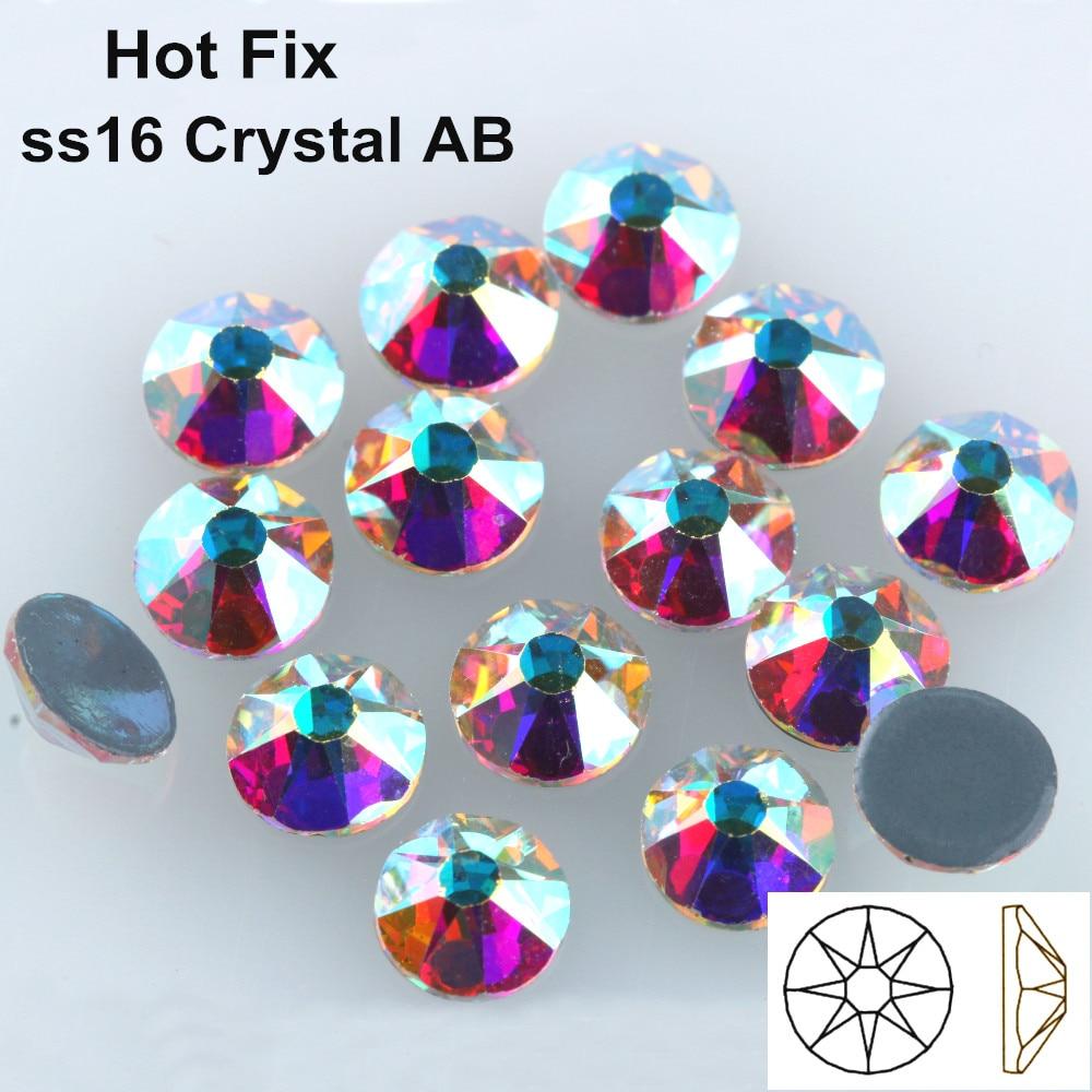 1440 Stks/partij Aaa Kwaliteit Nieuwe Facted (8 Grote + 8 Kleine) Ss16 (3.8-4.0mm) Crystal Ab Ijzer Op Hotfix Rhinestones Plaksteen Stone