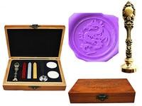 Vintage Dragon Custom Luxury Wax Seal Sealing Stamp Brass Peacock Metal Handle Sticks Melting Spoon Wood