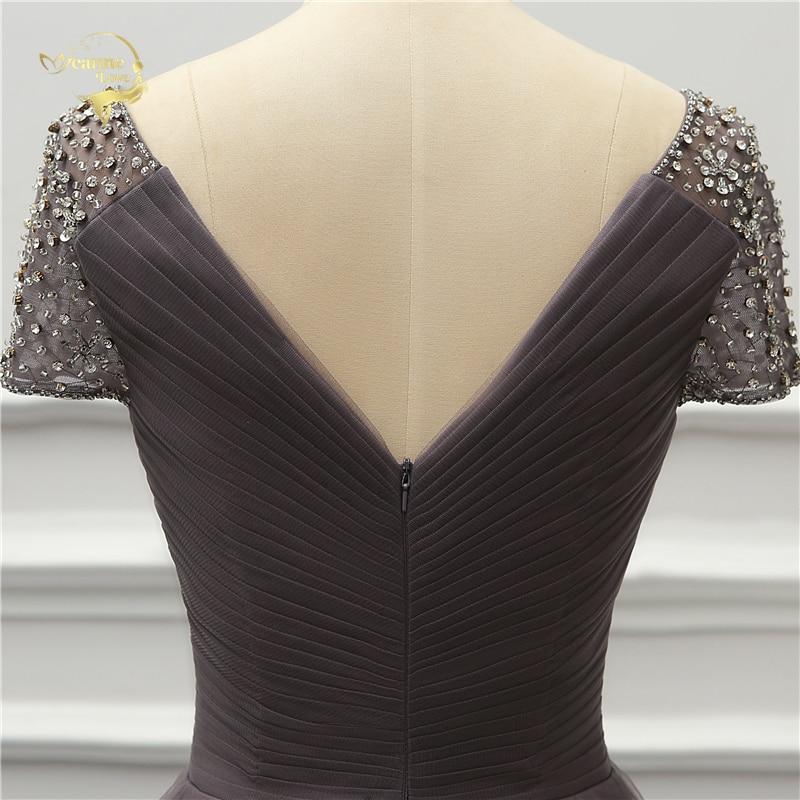 Front Short Long Back Short Sleeves Evening Dress