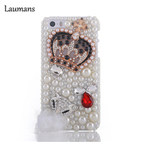 Laumans For Apple iPhone 7plus case cover Luxury Rhinestone fox head diamond pearl crown crystal Hard Back cases FOR 5S 5C 6 7 8