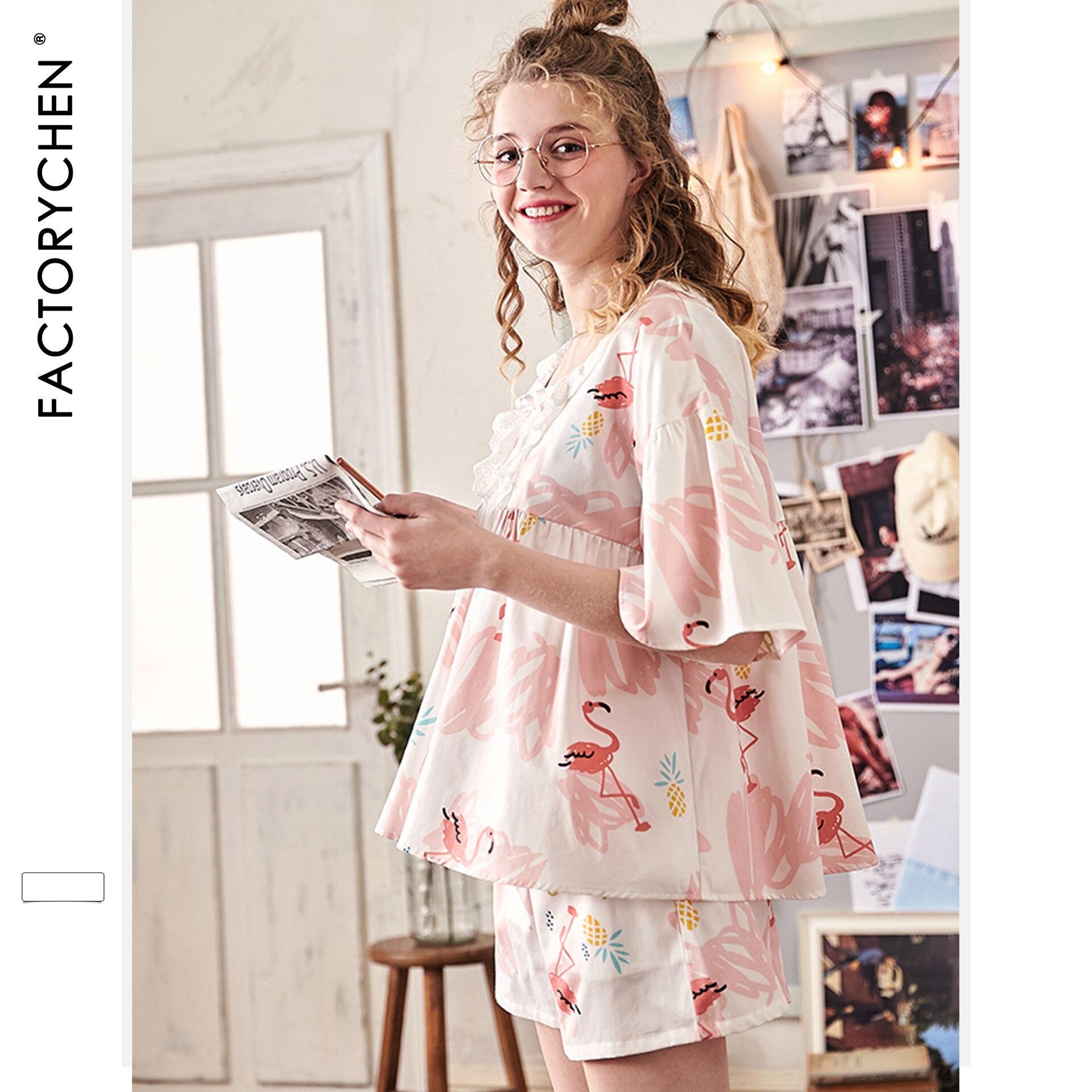 Image 3 - Свободные женские пижамы с коротким рукавом и рисунком фламинго, летние шорты, пижама с v образным вырезом, пижама с принтом, домашняя одежда для сна, комплект из 2 предметов-in Комплекты пижам from Нижнее белье и пижамы on AliExpress - 11.11_Double 11_Singles' Day