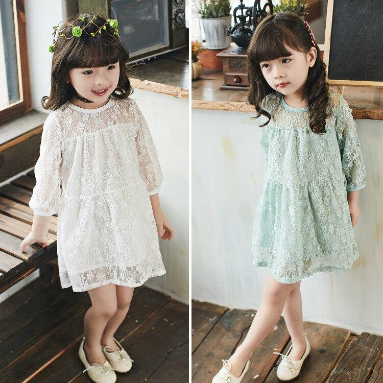 2019 primavera otoño moda chica vestido de encaje niñas bebés - Ropa de ninos