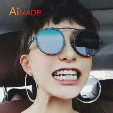 Aimade Men Women 2018 Fashion Metal Steampunk Round Sunglasses Male Female  Vintage Single Bridge Hipster Punk Mirror Sun Glasses 51e07e9473