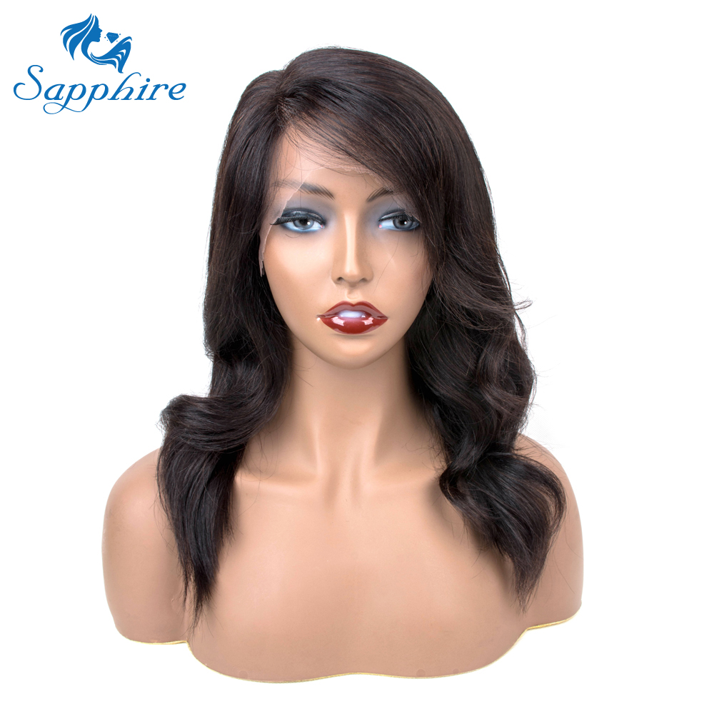 Sapphire Natural Wavy Bob Wigs Lace Front Human Hair Wigs For Black Women Side Part Peruvian