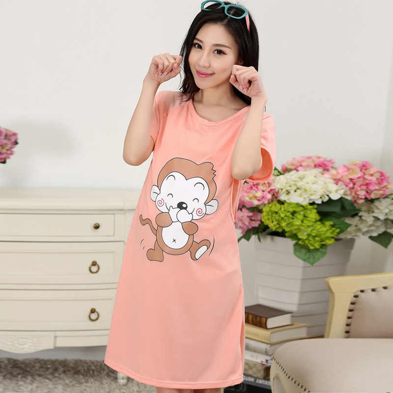 Cotton Maternity Sleepwear Pregnant Women Pajamas Nursing Breast Dress Lactation Clothing For Feeding Nursing Clothes Nightgown
