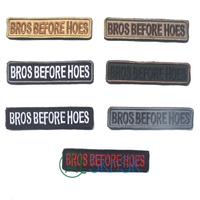 7pcs Lot Funny Letter Bros Before Hoes Patch Military Subdued Color Embroidered Cloth Patch