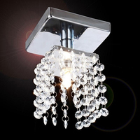 Mini Semi Flush Mount In Crystal Chandelier Light Lamp Lighting Chrome Finish US Plug H9525US NF