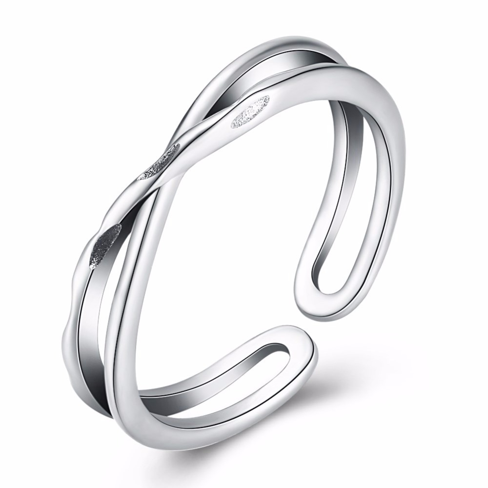 Pandahall Genuine 925 Silver X Cross Hollow Ankle Ring Fashion Contracted Simple Adjustable Finger Jewelry For Women Girls
