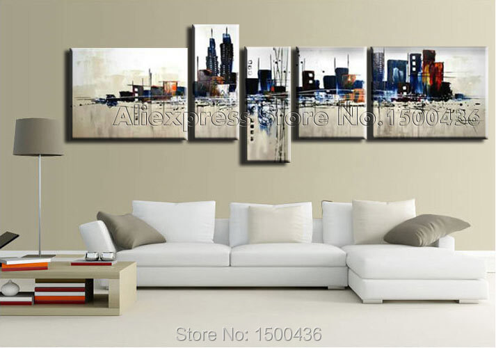 ... Victoria Fashion Oil Painting Decor-E197 (26) ... & Hand Painted Modern City Pictures Abstract Oil Painting On Canvas 5 ...