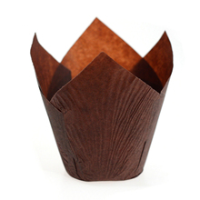 200 psc Professional Tulip Pattern Large Muffin Paper Cupcake Cake Cases Wraps Chocolate Brown