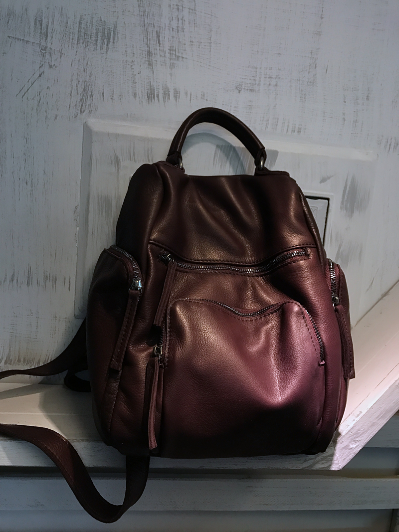 Vendange new fashion women preppy style vintage handmade genuine leather bag small knapsack 2429 vendange original handmade simple leisure female genuine cowleather knapsack multifunctional knapsack2305