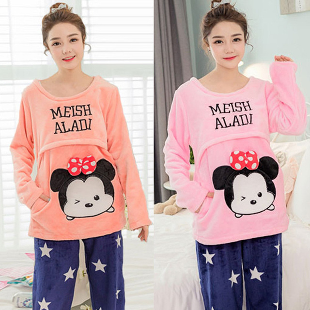 Winter Autumn Lovely Cartoon Mickey Thick Flannel Maternity Pajamas Nursing Home Wear Pregnancy Clothing Sets Factory Sale