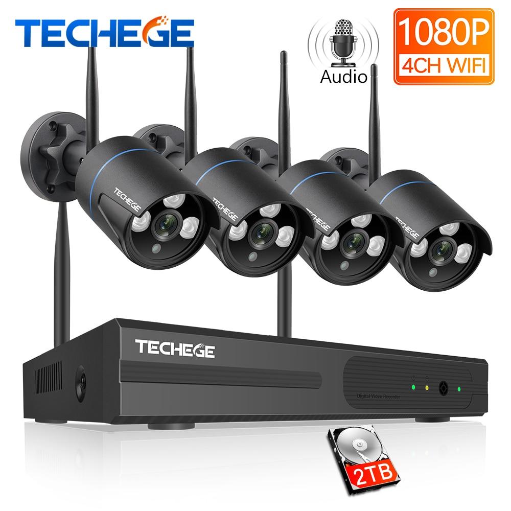 Techege Wireless CCTV System 1080P Audio Record 2MP 4CH NVR Waterproof Outdoor WIFI CCTV Camera System