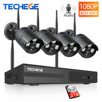 Techege Wireless CCTV System 1080P Audio Record 2MP 4CH NVR Waterproof Outdoor WIFI CCTV Camera System Video Surveillance Kit