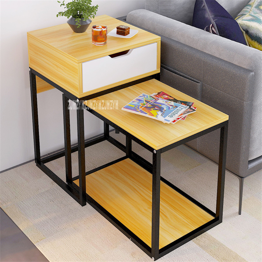 E632 Coffee Table Home Furniture Tea Table Living Room Multifunctional Side Table 1-Drawer End Table Creative Retracted Teapoy