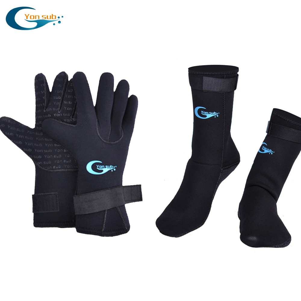 Yonsub 3mm Neoprene Scuba Diving Gloves+3mm Diving Socks Prevent Scratches Warming Snorkeling Equipment