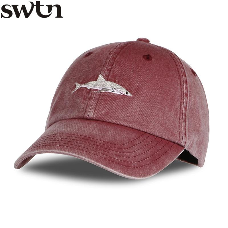 Prix pour SWTN 2017 Top Mode Lavé Casquette de baseball Hommes Requin Rose Broderie Papa Chapeau pour Femmes gorras planas snapback bosco